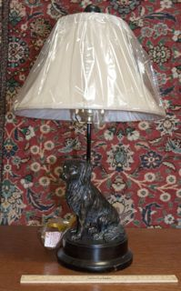 METAL DOG LAMP WITH NEW SHADE, 22 IN. TALL