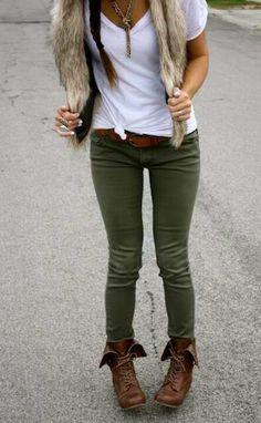 #hunter green pants#fur vest#lace up boots