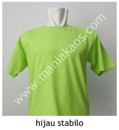 Kaos O-neck Lengan Pendek Hijau Stabilo. Tersedia juga model lengan panjang untuk warna hijau stabilo.