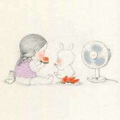 이미지 뷰어입니 'Cause it's too hot, I don't have appetite, I will eat watermelon. A LOT. Sweet Drawings, Cute Disney Drawings, Funny Illustration, Illustrations, Baby Boy Swag, Korean Art, Pencil Art Drawings, Cute Little Girls, Love Painting