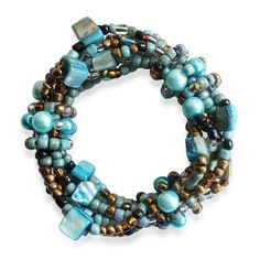 Royal Bali Collection Multi Color Glass Seed Bead Bracelet (Strechable)