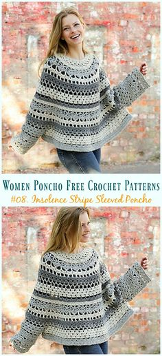 Women Poncho Free Crochet Patterns 2019 Insolence Stripe Sleeved Poncho Crochet Free Pattern Women Free Patterns The post Women Poncho Free Crochet Patterns 2019 appeared first on Scarves Diy. Poncho Crochet, Crochet Motifs, Crochet Scarves, Crochet Clothes, Crochet Sweaters, Crochet Poncho With Sleeves, Crochet Dresses, Crochet Patterns Free Women, Black Crochet Dress