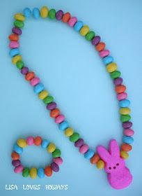 Jellybean jewelry - use dental floss and add a ribbon! Fun for kids.