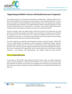 negotiating-justifiablecontractwithhealthinsurancecompanies by Medicalbillersandcoders via Slideshare