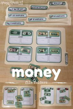 The PERFECT file folders for special education students who are beginning to learn and identify money.