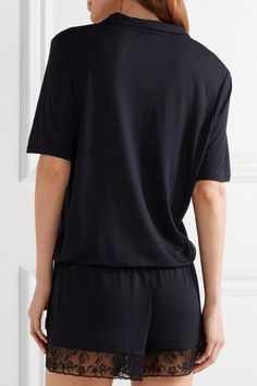 Elle Macpherson Body - Zen Embroidered Tulle-trimmed Modal-jersey Playsuit - Midnight blue - x large