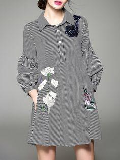 Cotton-blend H-line Shirt Collar 3/4 Sleeve Casual Shirt Dress