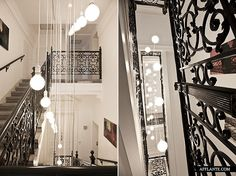 UrbanVILLA A :: Jürgen Hamberger. This beautiful urban villa is situated in Wien, Austria/ The interior is very modern with classic elements, which help to create chic and unique look. Frank Lloyd Wright, Stairways, Austria, Villa, Decor Ideas, Ceiling Lights, Urban, Sculpture, Black And White