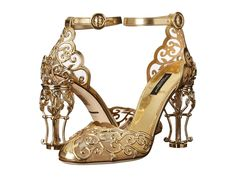 Dolce & Gabbana Laser Cut Patent Leather Mesh w/ Metal Heel Gold - Zappos Luxury