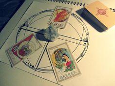 tarot spread with crystal art
