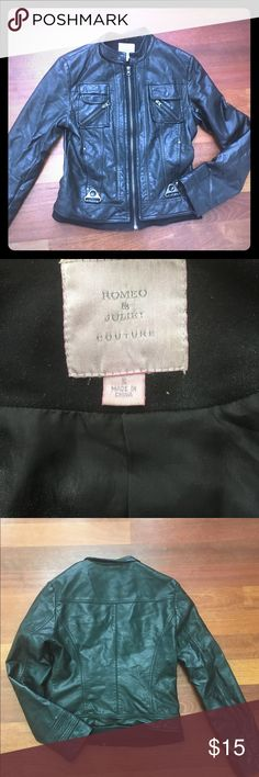 Size S. Faux leather jacket by Romeo and Juliet Excellent used condition. Awesome zipper and lining. Lightweight. 30% off bundles of 2 or more listings from my closet. Romeo & Juliet Couture Jackets & Coats