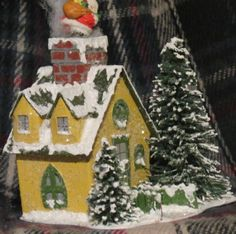 Vintage-Style-Putz-Houses-Glitter-Houses-Set-of-6-OOAK-Sisal-Bottle-Brush-Tree