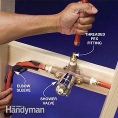 PEX tubing is an easy-to-install alternative to copper pipe. Long used in radiant heating systems, flexible PEX tubing is perfect for water supply lines because it's easy to run through walls and floors and simple to work with. Pex Plumbing, Bathroom Plumbing, Basement Bathroom, Small Bathroom, Plumbing Fixtures, Bathroom Ideas, Bathrooms, Bathroom Fixtures, Water Plumbing