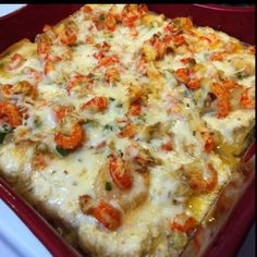 Cajun Lasagna--YES, please!!!  8 cooked lasagna noodles 1lb. crawfish tails 1lb. uncooked small-medium shrimp 16oz. ricotta 2c. shredded pepper jack 2c. shredded parmesan 8oz. velveeta 1lg. egg 1lg. bell pepper, diced 1sm. Onion, diced 4 garlic cloves 1sm. Jalapeno minced, remove seeds Olive oil 1sm. Tomato, diced   I used a 9x9 casserole dish Preheat oven to 350; Saute in olive oil, bell pepper, oinon, garlic, and jalapeno. Melt in Velveeta and 1/2c. pepperjack Add Shrimp, Crawfish, tomatoe...