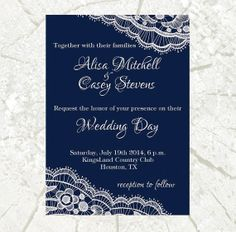 Lace Wedding Invitation SET, Navy Lace wedding invite, Printable Digital file, Wedding Invitation, RSVP, Invite, response card, lace wedding...