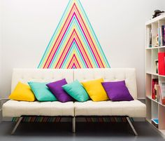 Want a no commitment mural on one of your walls? Try using washi tape to create different shapes, get creative with it!