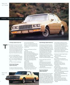 """1987 Buick Regal Option Sheet: Shows how a Regal could be equipped without the """"Grand National"""" package or the """"Turbo T"""" package. It was also possible to order the Regal with the black-out trim and sport wheels/suspension without the SFI Turbo 1987 Buick Grand National, Buick Cars, Car Brochure, Buick Skylark, Buick Regal, Old School Cars, Car Advertising, American Muscle Cars, Chevy Trucks"""