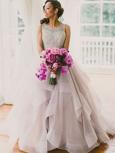Ball Gown Sleeveless Scoop Beading Sweep/Brush Train Organza Wedding Dresses - Wedding Dresses - Hebeos Online, PO16033PO524, Spring, Summer, Fall, Winter, Organza, Scoop, Ball Gown, Sleeveless, Beading, Natural, Other, Sweep/Brush Train, hebeos.com
