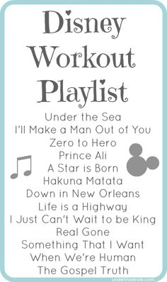A list of Disney songs (classic & new) to workout to! Or to get motivated to clean. Yup i especially play the snow white song, whistle while work. My kind of workout ; Disney Workout, Run Disney, Disney Love, Disney Princess Half Marathon, Disney Marathon, Dance Marathon, Playlists, Workout Songs, Movie Workouts