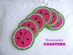 Watermelon Coasters. Free Pattern: lakeviewcottagekids.blogspot.nl