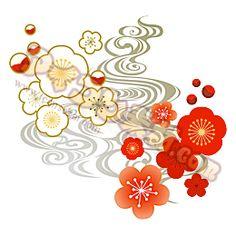 「紅白梅 流水紋 模様 文様 柄 和 和風」 のマーク・イラスト・アイコン素材