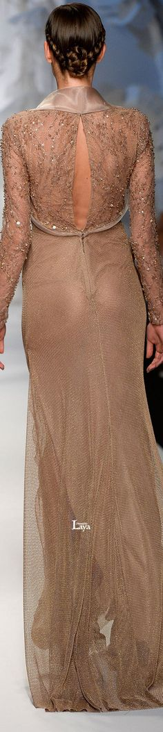 Abed Mahfouz ~ Couture Neutral Sheer Gown with Collar & Open Back, Pattern Bodice w Crystals 2013
