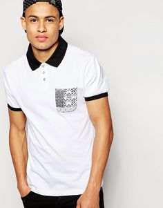 """Polo shirt by D-Struct Soft-touch jersey Polo collar Three button fastening Printed patch pocket Ribbed cuffs Regular fit - true to size Machine wash 100% Cotton Our model wears a size Medium and is 188cm/6'2"""" tall"""