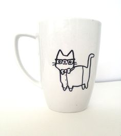 Hand-Drawn Mug Geeky Cat Professor Nerdy Kitten Cute Cup on Etsy, $6.00