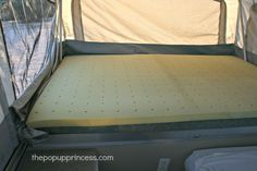 How We Sleep {Comfortably} in Our Pop Up Camper - The Pop Up Princess Tent Trailer Camping, Tent Camping Beds, Pop Up Camper Trailer, Go Camping, Camping Ideas, Tent Trailers, Camping Stuff, Travel Trailers, Popup Camper Remodel