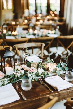 In 2016, Edison bulbs and string lights were all the rage (and they're a classic, and will continue to be). In 2017, expect to see candles everywhere from centerpieces to lanterns hanging overhead. | 10 Trending Ideas for 2017 Weddings