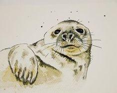 art print of watercolour grey seal British Wildlife, Wildlife Art, Wall Art Prints, Fine Art Prints, Landscape Prints, Botanical Prints, Watercolour, Giclee Print, Seals
