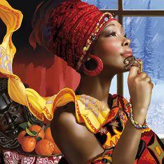 Tatyana Doronina (nickname Data), illustrator from Russia. African American Art, African Art, African Crown, African Beauty, African Women, African Fashion, Modern Pin Up, Cross Paintings, Turbans