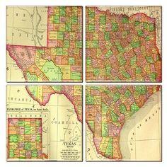 Texas Map Coaster Set of 4
