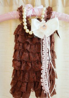 Brown Vintage Lace Romper,Petti Romper Set,Baby Romper,Baby Girl Romper,Newborn Photo Prop,Birthday Outfit,Photo Prop,Toddler, $22.95