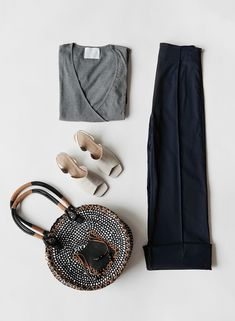 Styled by Izy, our Navy Pin Tunk Pant, Grey Wrap Tee, About Arianne Lattice Wedge, and Paper Braid Tote Pjs, Boerum Hill, Stylists, Clothes For Women, Lady, Braid, Wedge, Feels, How To Wear