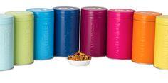 Different colored Tea tins Davids Tea, Tea Storage, Tea Tins, House Colors, Nespresso, Coffee Maker, Kitchen Appliances, Tableware, Homes