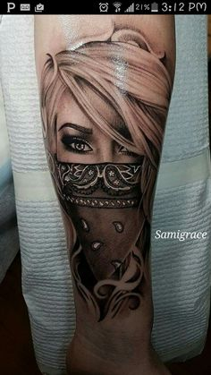 Beautiful tattoo garage ink girl bandanna gray scale arm tattoo