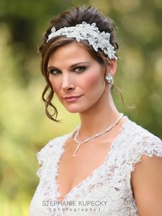 Lace Applique Asymmetrical Ribbon Headband ~ Handmade with Swarovski Crystals and Pearls