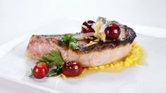 Traci Des Jardins' Grilled Pork Chops with Cherry Almond Salsa and ...