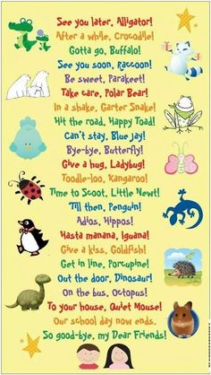 When I worked at an elementary school in college the kindergarten teacher used these cute good-bye rituals Classroom Organization, Classroom Management, Preschool Songs, Children Songs, Goodbye Songs For Preschool, Children Names, Preschool Teachers, School Children, Pre School