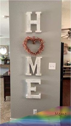 White home letters Entryway Decor Ideas Home letters White Home Living Room, Living Room Decor, Home Projects, Home Crafts, Family Wall Decor, Letters On Wall Decor, Diy Casa, Easy Home Decor, Entryway Decor