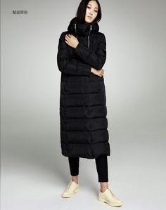 Метров у женщин осень зима коммутирующих вышивка с капюшоном сгущает похудения с длинным над коленом длинный абзац куртка женская теплая длинная-посредник. сом-день кота