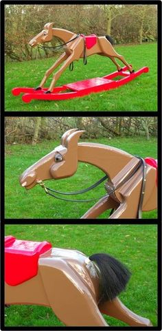 "Handcrafted ""racing"" rocking horses from the UK. See their story at www.gillandson.co.uk."
