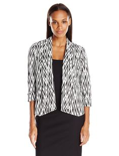 Kasper Womens Knit Jacquard Flyaway Jacket Black/White 18 *** Learn more by visiting the image link. (This is an affiliate link) #womenscoatsjacketsvests