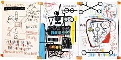 Jean-Michel Basquiat's triptych Five Fish Species, a celebration of his favorite writer, beat author William Burroughs.