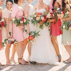 Adore this photo, one of our beautiful brides and her bridesmaids, with pops of bright blooms and succulents. Coral Charm Peonies were the stars in these bouquets!  Photo: @melissajill  Thank You @Mayesh for allowing me to share some of my favorite flowers and photos over the last 3 days. Love working with all of your beautiful product. @carteblanchedesign #mayeshtakeover