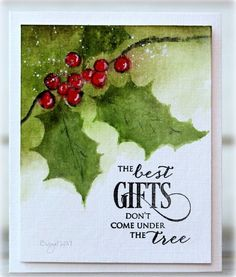 Rapport från ett skrivbord: Less is Christmas Cards 2018, Christmas Card Crafts, Christmas Signs, Xmas Cards, Christmas Art, Handmade Christmas, Watercolor Christmas Cards, Watercolor Cards, Penny Black Cards