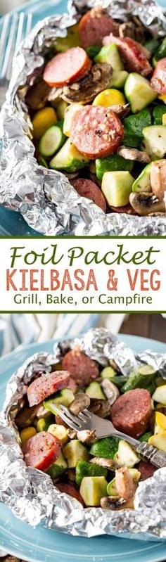 Foil Packet Kielbasa Kielbasa Recipes: Kielbasa sausage and fresh garden yellow squash and zucchini, and mushrooms, lightly seasoned, and cooked in Handi-Foil for the perfect, simple meal. Foil Packet Dinners, Foil Pack Meals, Foil Dinners, Weeknight Dinners, Grilling Recipes, Pork Recipes, Cooking Recipes, Healthy Recipes, Recipies