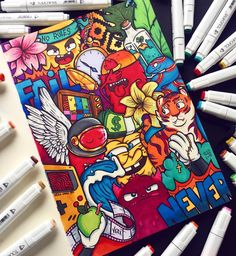 Behind The Scenes By vexx Cute Doodle Art, Doodle Art Designs, Doodle Art Drawing, Art Drawings, Doodle Characters, Graffiti Characters, Kawaii Doodles, Cute Doodles, Vexx Art