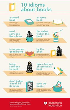 Language learning: Infografía con Idioms sobre Books 10 idioms about books ✿… #infografias #infographic
